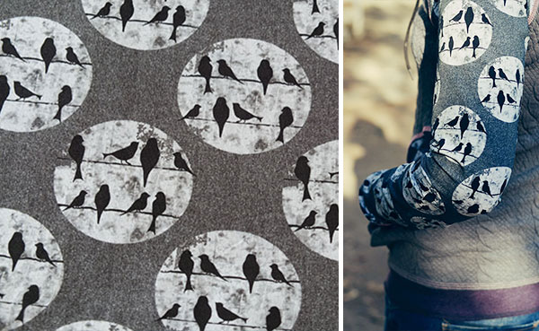 """Design example from """"Birds on a Wire"""" in dark grey and Suva Jacquard in grey"""