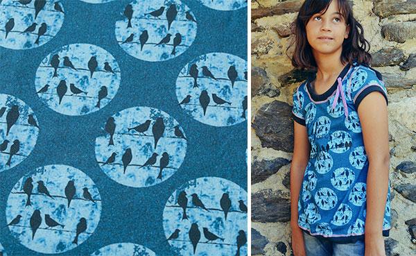 Birds on a Wire design examples: Shirt Rosita in denim blue