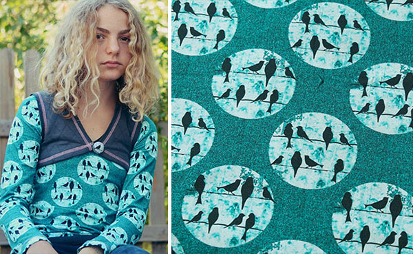 Birds on a Wire design examples: Shirt Noelita in teal