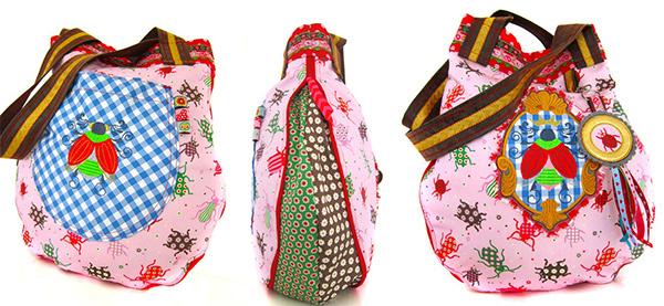 Farbenmix Tropfentasche aus Baumwolldruck Lara