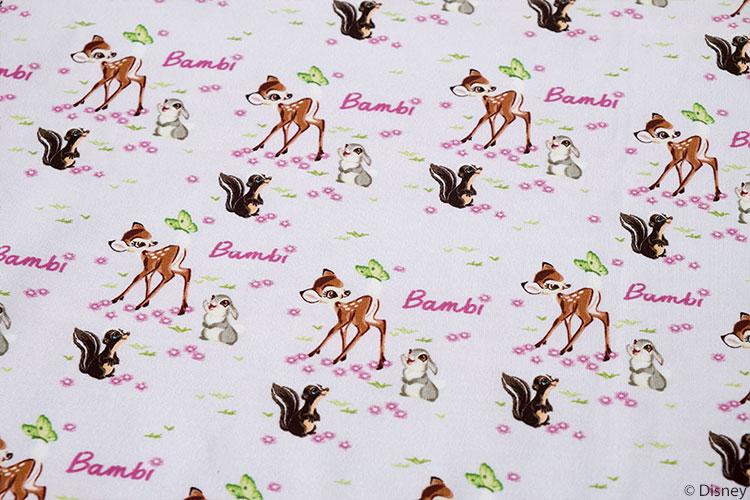 Bambi Jersey mit Retro Bambi, Klopfer und Blume.