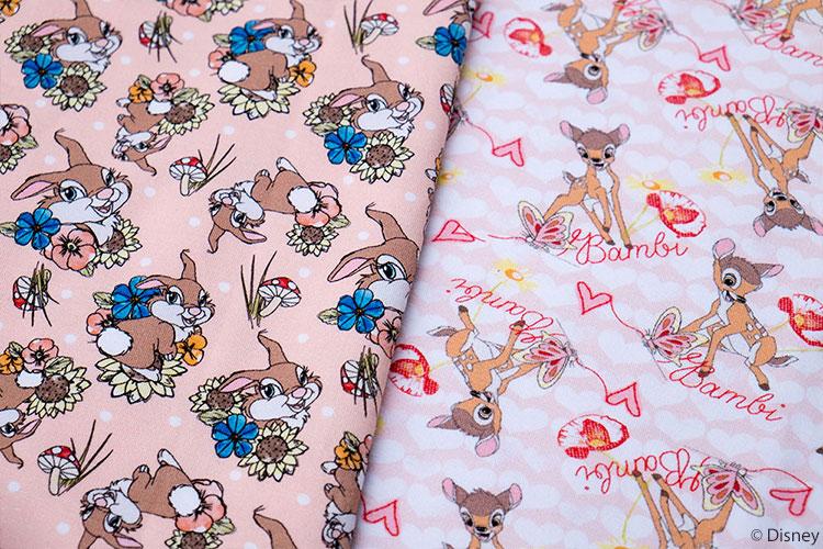 Bambi Jersey Stoffe von Swafing: Klopfer und Bambi mit Herzen.