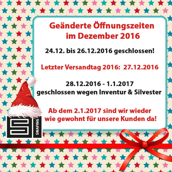Weihnachten Öffnungszeiten Dezember 2016