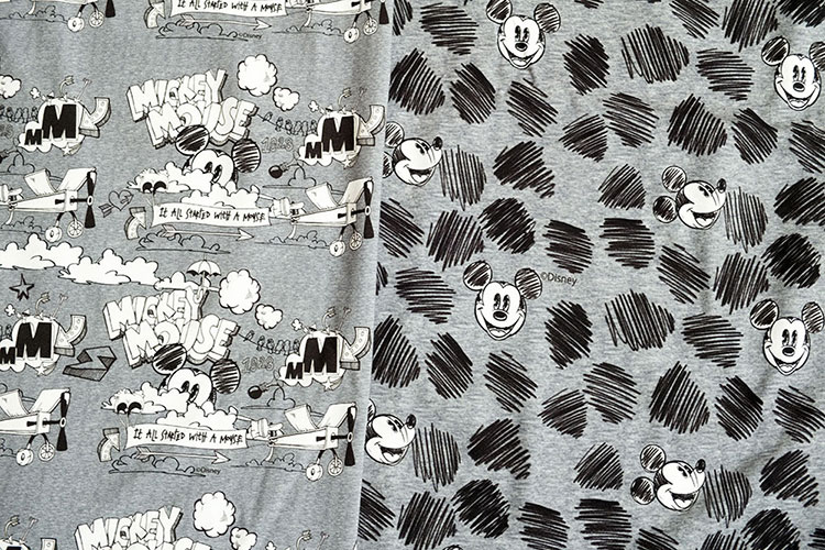 Disney Stoffe: Neue melierte Jerseys mit Micky Maus