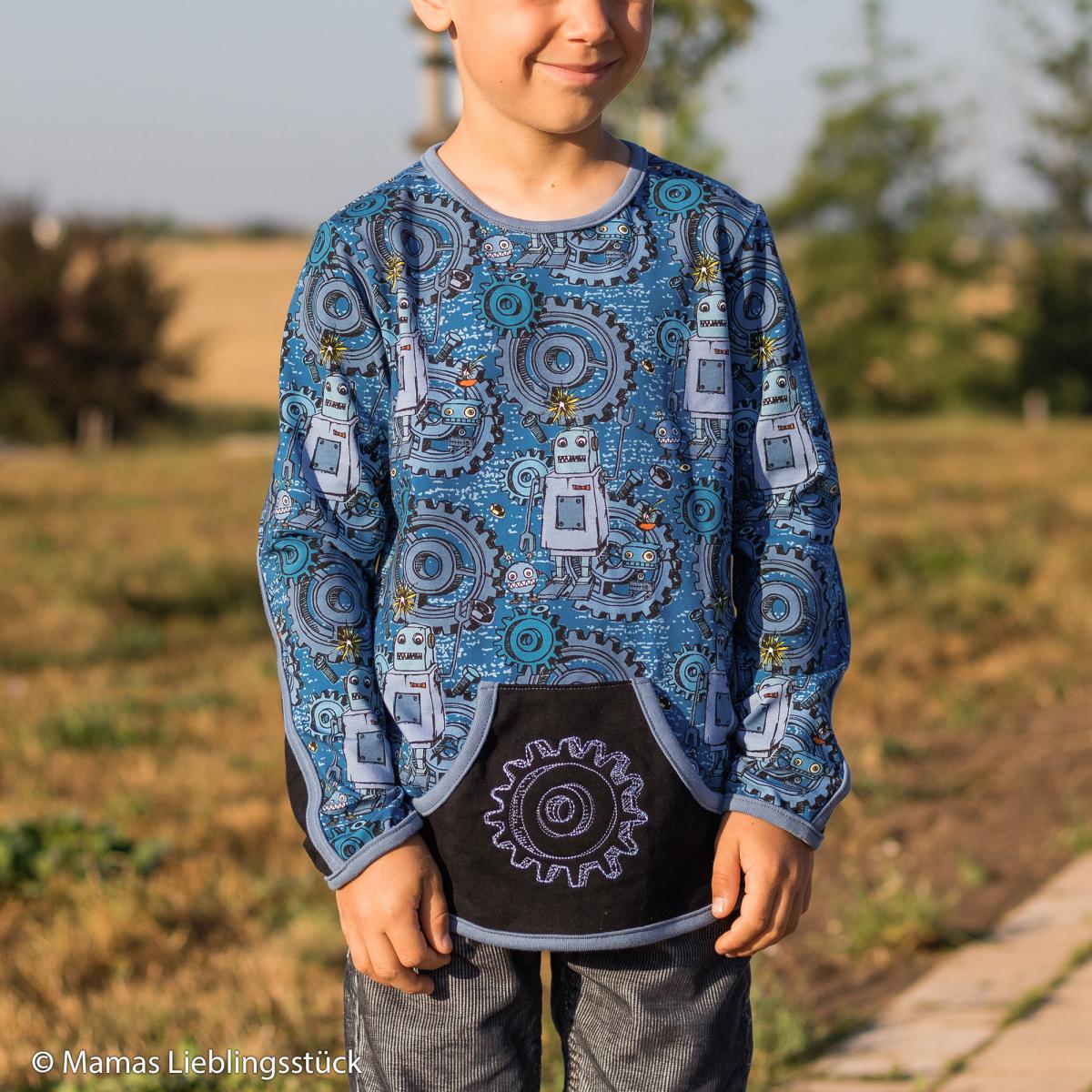 Mamas Lieblingsstück: Shirt Geheimling / Allerleikind. Gr. 122. Kombiniert mit Maike in Fb. 299 und Heike in Fb. 259. Stickdatei: Happy Metal / Kunterbuntdesign