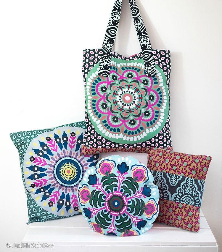 Aus nur einem Pillow Party Panel entstehen drei schöne Kissen und eine praktische Tasche!  Modell: Lieblings