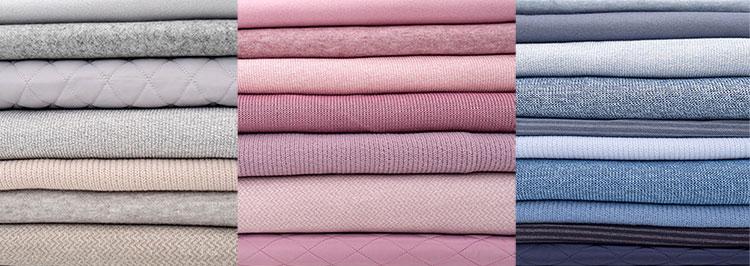 Swafing Hausmesse Stoffe in grau/beige, rosa und blau