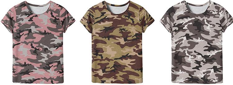 Trendstoff Plissee und Camouflage - Shirts aus Vera Camouflage