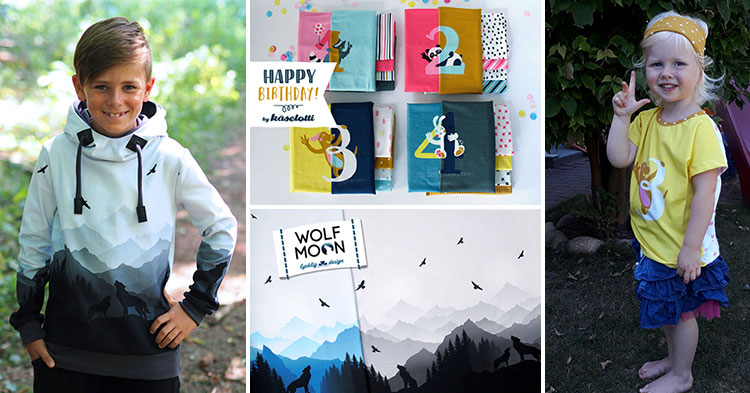 Alle liebe Panels: Wolf Moon Sweatpanels und Happy Birthday Jerseypanels zur Swafing Hausmesse