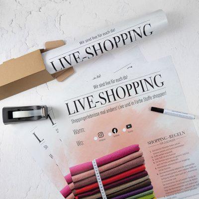 Plakate in DINA2 zur Bewerbung Deines Live-Shopping-Events einfach anfordern!